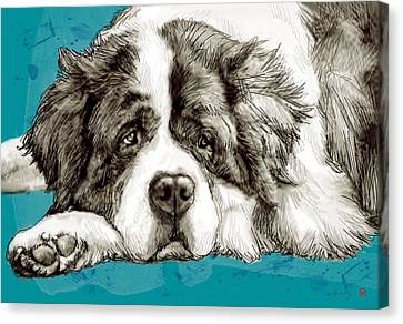 Dog Stylised Pop Modern Art Drawing Sketch Portrait Canvas Print