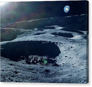 Earthrise Over The Moon Canvas Print by Detlev Van Ravenswaay