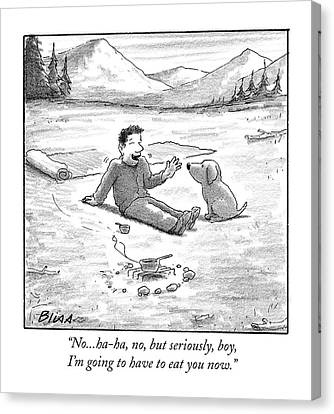 Camping Canvas Print - No...ha-ha, No, But Seriously, Boy, I'm Going by Harry Bliss