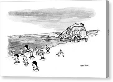 School Bus Canvas Print - New Yorker September 4th, 2006 by Jason Patterson