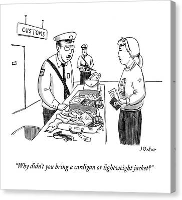 Officer Canvas Print - Why Didn't You Bring A Cardigan Or Lightweight by Joe Dator