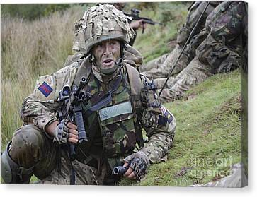 Welsh Guards Training Canvas Print by Andrew Chittock