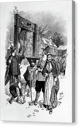 Punishment Canvas Print - 1600s Man In Pillory For Punishment by Vintage Images