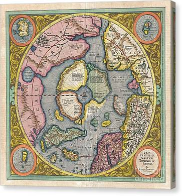 1606 Mercator Hondius Map Of The Arctic Canvas Print by Paul Fearn