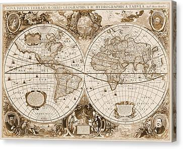 1630 Antique World Map Canvas Print by Dan Sproul