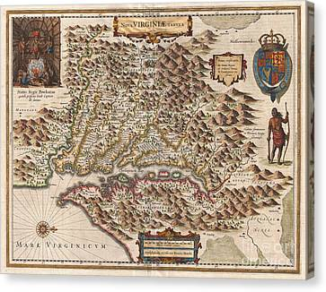 1630 Hondius Map Of Virginia And The Chesapeake Canvas Print