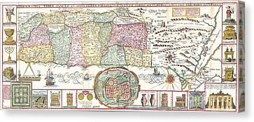 1632 Tirinus Map Of The Holy Land Canvas Print by Paul Fearn