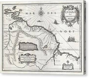 1635 Blaeu Map Guiana Venezuela And El Dorado Canvas Print by Paul Fearn