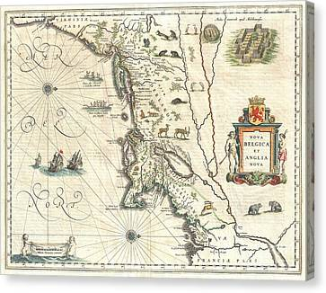 1635 Blaeu Map Of New England And New York Canvas Print by Paul Fearn