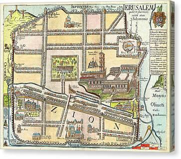 1650 Fuller Map Of Jerusalem Israel Palestine  Holy Land Geographicus Jerusalem Fuller 1650 Canvas Print