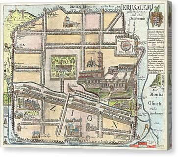 1650 Fuller Map Of Jerusalem  Canvas Print by Paul Fearn