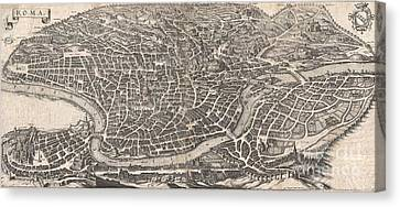 1652 Merian Panoramic View Or Map Of Rome Italy Canvas Print by Paul Fearn