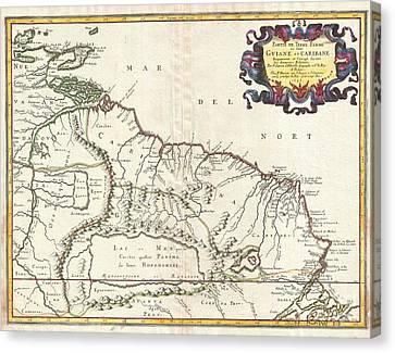 1656 Sanson Map Of Guiana Venezuela And El Dorado Canvas Print by Paul Fearn