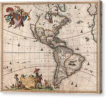 1658 Visscher Map Of North America And South America Canvas Print by Paul Fearn
