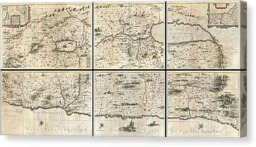 Looking To The Heavens Canvas Print - 1662 Jansson And Hornius Map Of The Holy Land Israel And Palestine by Paul Fearn