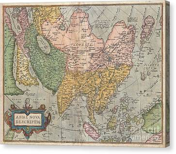 1670 Ortelius Map Of Asia  Canvas Print by Paul Fearn