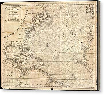 1683 Mortier Map Of North America The West Indies And The Atlantic Ocean  Canvas Print by Paul Fearn