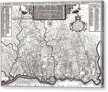 1687 Pennsylvania Map Canvas Print by Bill Cannon
