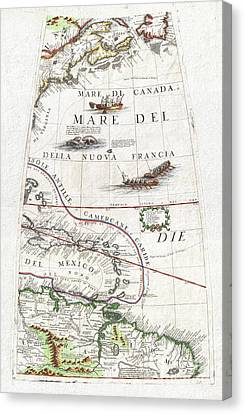 1688 Coronelli Globe Gore Map Of Ne North America The West Indies And Ne South America Canvas Print by Paul Fearn