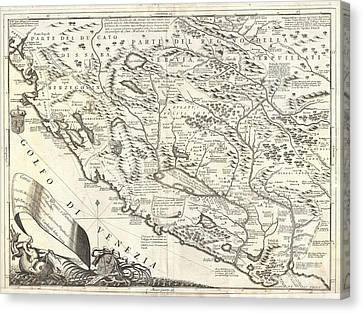 1690 Coronelli Map Of Montenegro Canvas Print by Paul Fearn