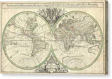 1691 Sanson Map Of The World On Hemisphere Projection Canvas Print by Paul Fearn