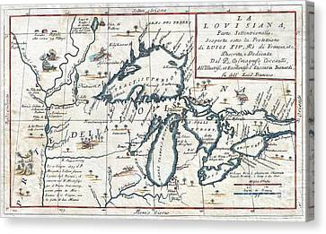 1696 Coronelli Map Of The Great Lakes Canvas Print by Paul Fearn