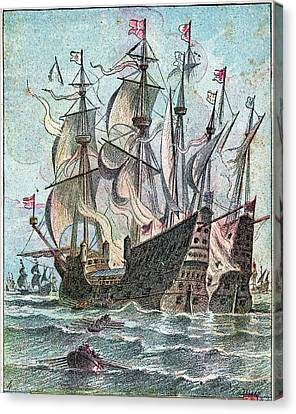 16th Century Naval Battle Canvas Print by Cci Archives