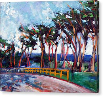 Canvas Print featuring the painting Seventeen Mile Drive by Walter Fahmy