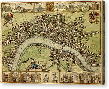 17 Th Century Map Of London England Canvas Print