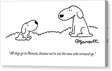 All Dogs Go To Heaven Canvas Print by Charles Barsotti