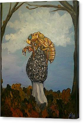 17 Year Cicada With Morel Canvas Print by Alexandria Weaselwise Busen