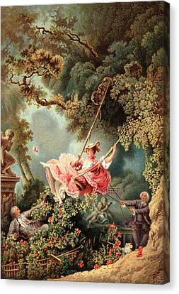 Vintage Painter Canvas Print - 1700s 1767 The Swing By French Painter by Vintage Images