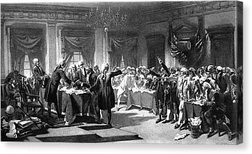 Colonial Man Canvas Print - 1700s 1770s July 4, 1776 Signing by Vintage Images