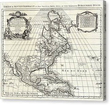 1708 De Lisle Map Of North America Canvas Print by Paul Fearn