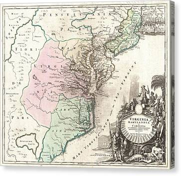 1715 Homann Map Of Carolina Virginia Maryland And New Jersey Canvas Print by Paul Fearn