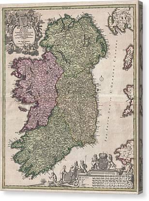 1716 Homann Map Of Ireland Canvas Print by Paul Fearn