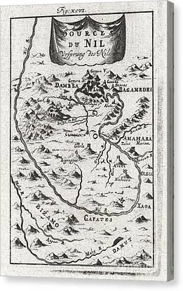 1719 Mallet Map Of The Source Of The Nile Ethiopia Canvas Print by Paul Fearn