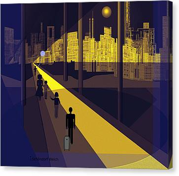 172 -  Nightwalking To The Golden City  Canvas Print by Irmgard Schoendorf Welch