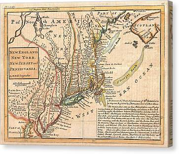 1729 Moll Map Of New York New England And Pennsylvania  Canvas Print by Paul Fearn