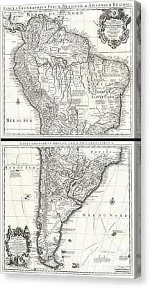 Credit River On Canvas Print - 1730 Covens And Mortier Map Of South America by Paul Fearn