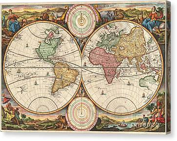 1730 Stoopendaal Map Of The World In Two Hemispheres  Canvas Print by Paul Fearn