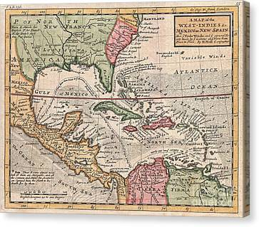 To Dominate Canvas Print - 1732 Herman Moll Map Of The West Indies And Caribbean by Paul Fearn