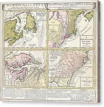 1737 Homann Heirs Map Of New England Georgia And Carolina And Virginia And Maryland Canvas Print by Paul Fearn
