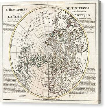 1741 Covens And Mortier Map Of The Northern Hemisphere  North Pole Arctic Canvas Print by Paul Fearn