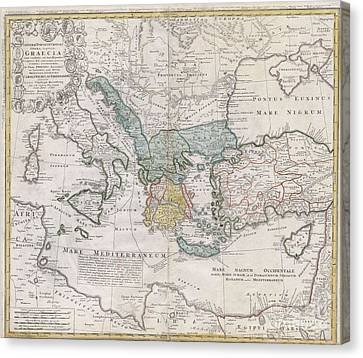 1741 Homann Heirs Map Of Ancient Greece  The Eastern Mediterranean Canvas Print by Paul Fearn