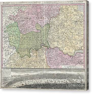 1741 Homann View And Map Of London Canvas Print by Paul Fearn