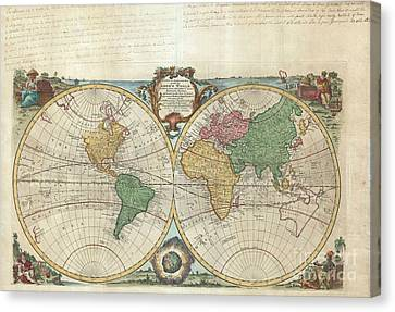 1744 Bowen Map Of The World In Hemispheres Canvas Print