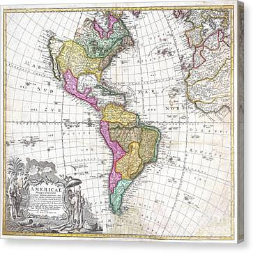 1746 Homann Heirs Map Of South And North America Canvas Print by Paul Fearn