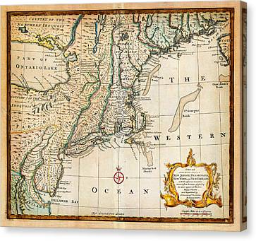 1747 Bowen Map Of New Jersey Pennsylvania New York And New England Geographicus Newyorknewengland Bo Canvas Print by MotionAge Designs