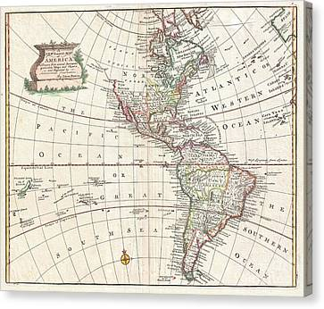 1747 Bowen Map Of North America And South America Canvas Print by Paul Fearn
